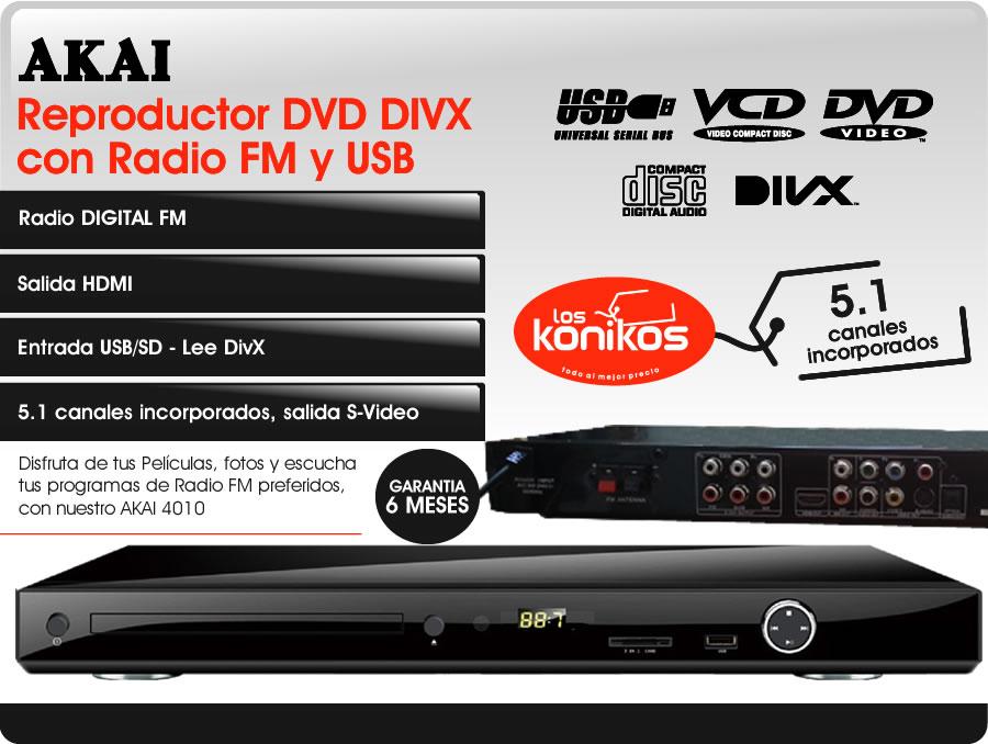reproductor dvd divx usb akai 4010 hdmi radio fm digital. Black Bedroom Furniture Sets. Home Design Ideas
